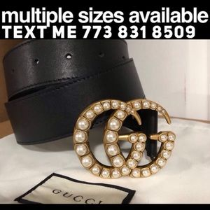 Double GG pearl Gucci belt